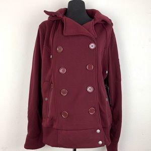 Ambiance Women's Burgundy Hooded Sweater Coat 3X